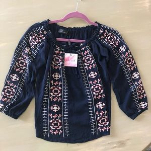 NWT Chicwish off the shoulder navy embroidered top